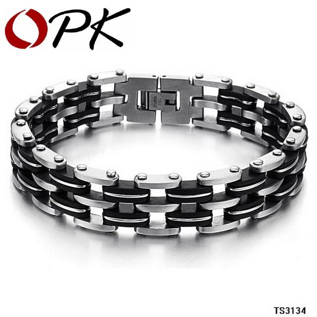OPK JEWELRY FASHION stainless steel MEN jewelry 14MM width Infinite Big Bracelet Black Genuine silicone men thick wristband 3134