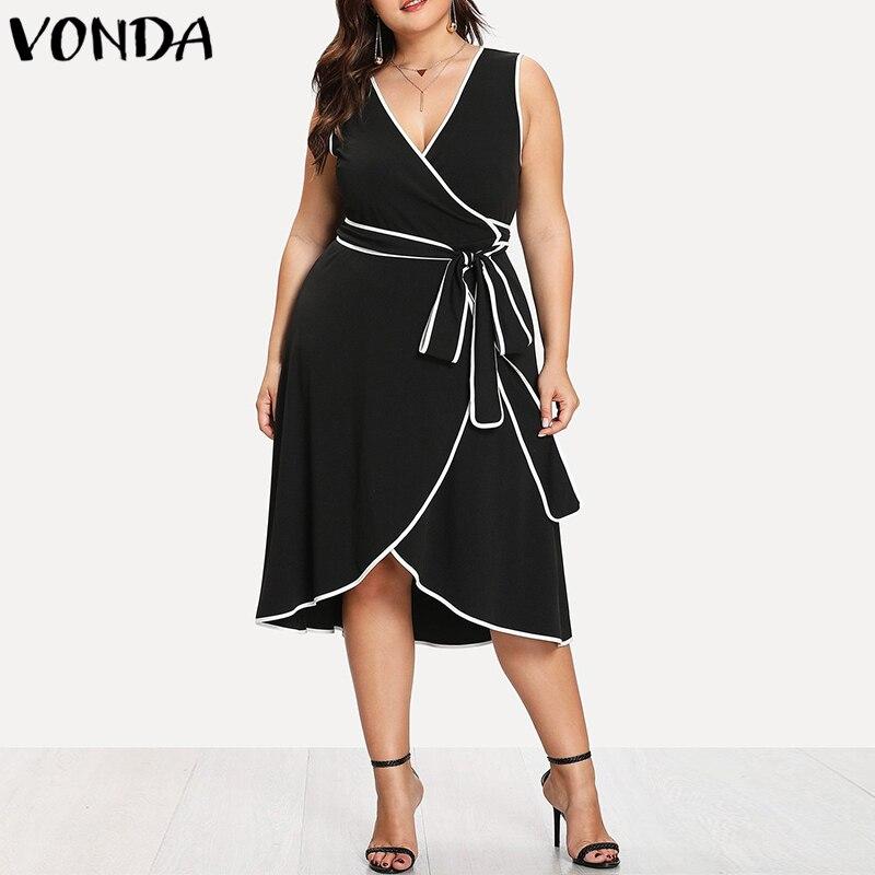 Summer Dress 2018 Women Sexy V Neck Sleeveless Asymmetric Hem Dresses Female Casual Loose Patchwork Vestidos Plus Size