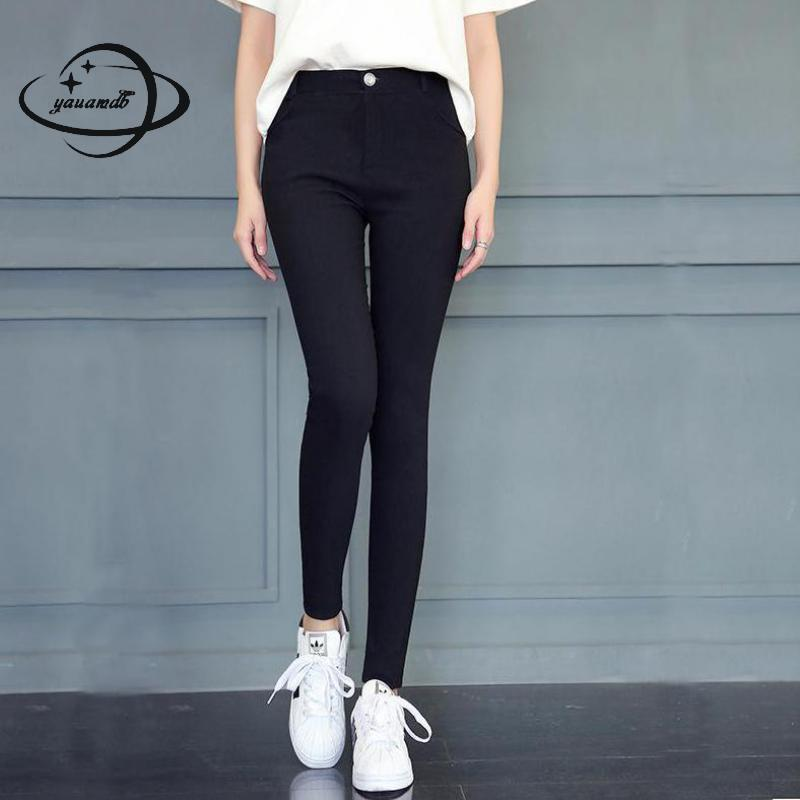 YAUMADB women leggings 2018 spring autumn polyester S-XL female trousers clothing zipper pocket slim office ladies clothes 35