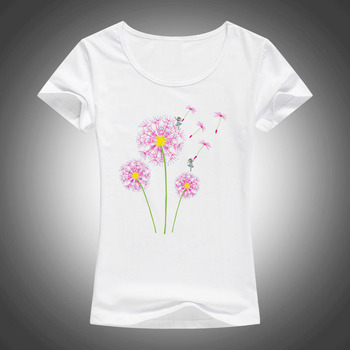 Kualitas Tinggi Katun T Shirt Wanita Dandelion Terbang Gambar Musim Panas Fashion Lengan Pendek Tops Tees Camiseta F33