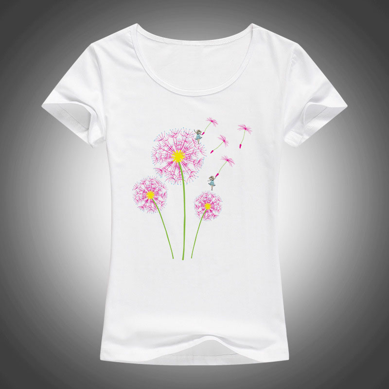 high quality cotton t shirt women dandelion flying printed summer fashion short sleeve tops tees camiseta F33