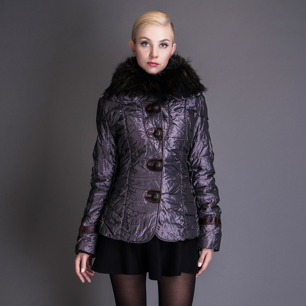 BASIC EDITIONS Winter Cotton Coat Solid Slim Short Metallic Silk Fabric With Raccoon Fur Collar Womens Jackets 1834 basic editions fall winter brown metallic silk fabric cotton coat with rabbit fur collar with belt covered button 7001d11