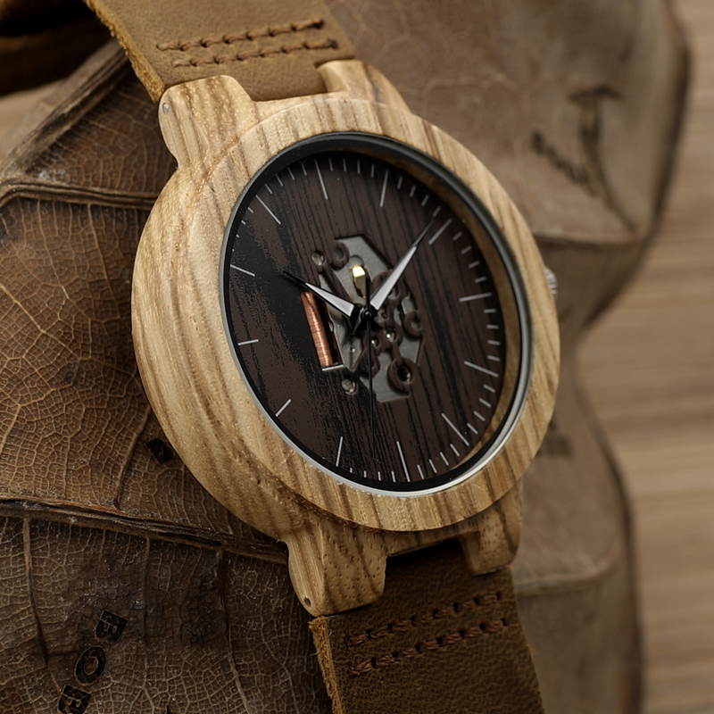 genuine brown movement natural dp with quartz casual strap wooden bobobird watches japanese watch leather bamboo