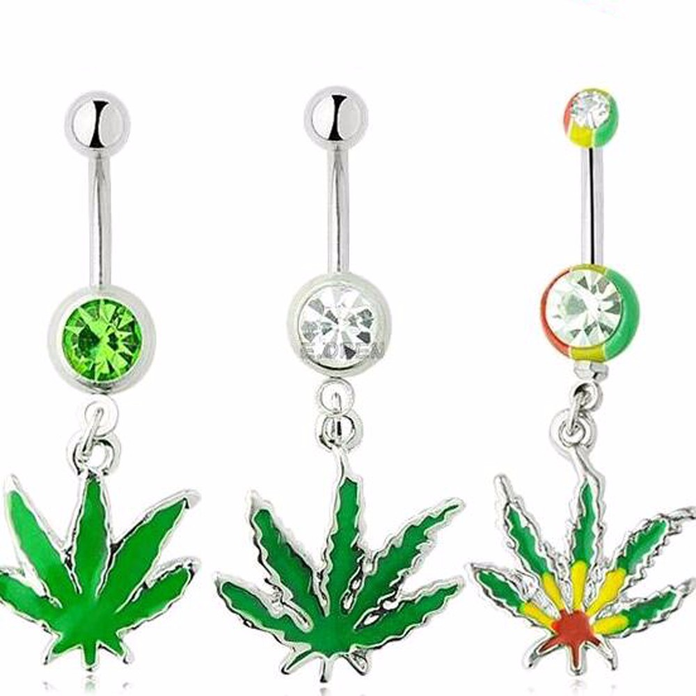 HTB1477PMpXXXXaAXVXXq6xXFXXXn Weed - 420 Design Belly Button Navel Rings