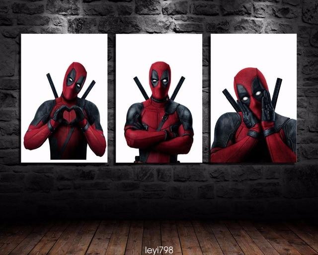 Mur de toile Art Belle Deadpool Film Peinture 3 Pièce Rouge Noir ...