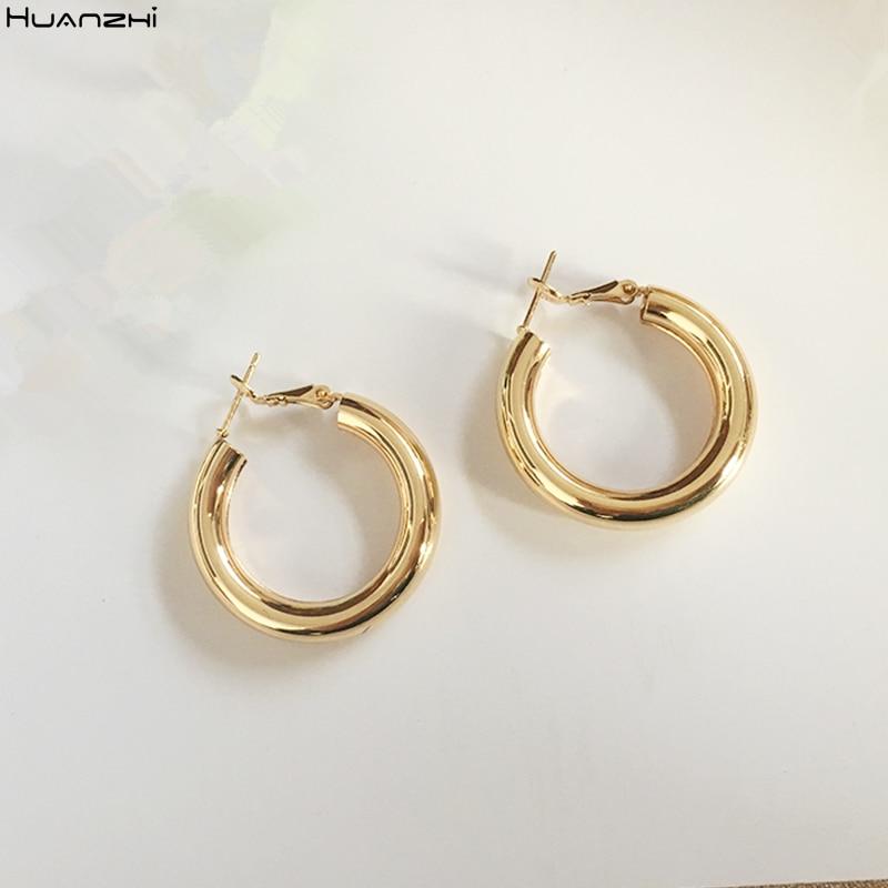 HUANZHI 2019 New Minimalist Gold Metal Large Circle Geometric Round Big Hoop Earrings for Women Girl Wedding Party Jewelry