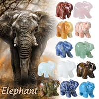 WR Handmade Elephant Shaped Stone Desktop Decoration Natural Colorful Stone For Thanksgiving Day Gifts