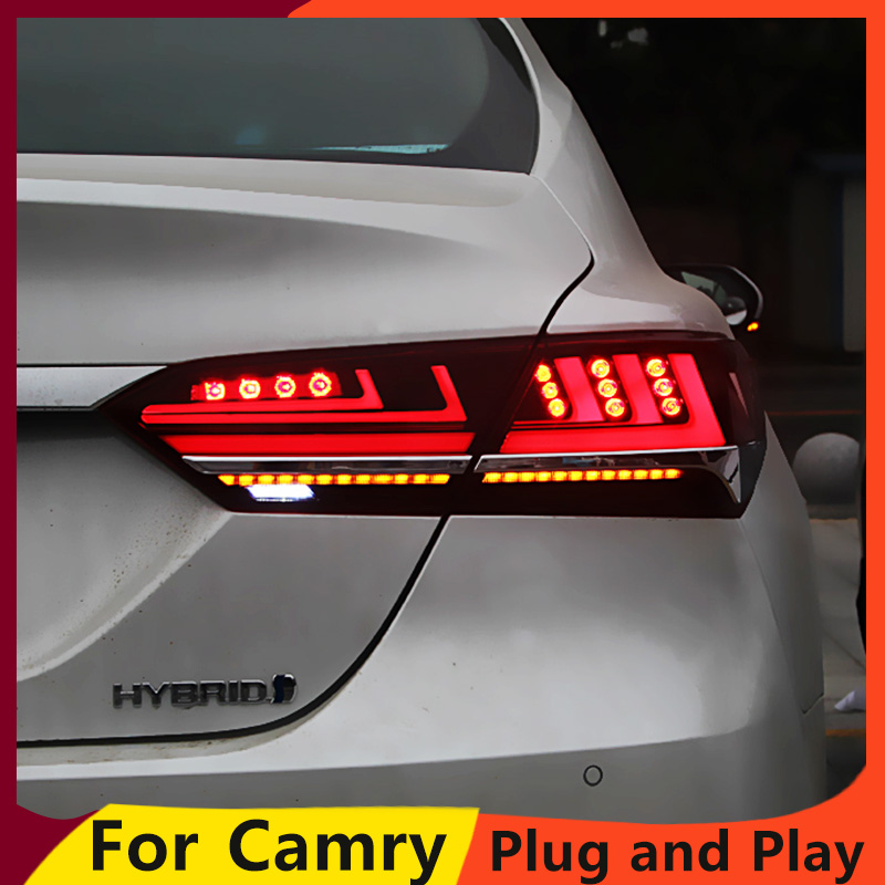 KOWELL Car Styling for Toyota Camry 2018 taillights LED Tail Lamp rear trunk lamp cover drl