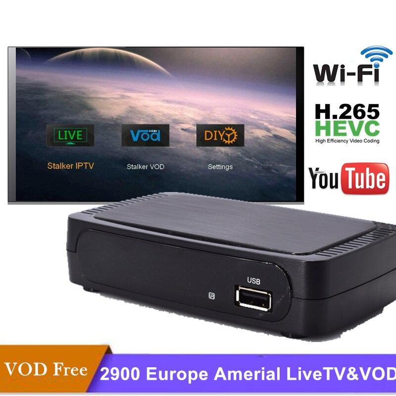 IPTV Box France avec abonnement 1 an iptv abonnement gratuit 2900 portugal français Europe italia H.265 HEVC liunx STB ip tv Box