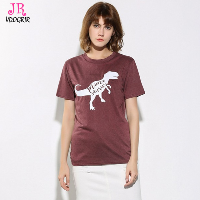f1cf2ba6888ae VDOGRIR New Cotton Dinosaur T-shirt For Women Print Character Letter Causal  T-shirts Short Sleeves Tops Tees Family Gift