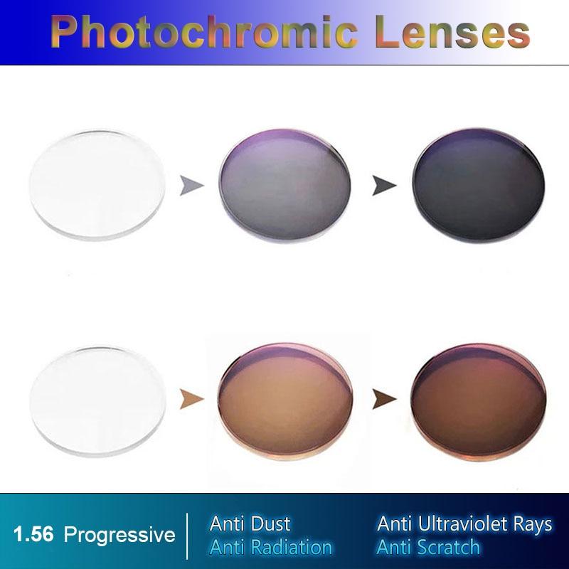 New 1 56 Super Tough Photochromic Digital Free form Progressive Lenses Light Sensitive Color Changing Fast