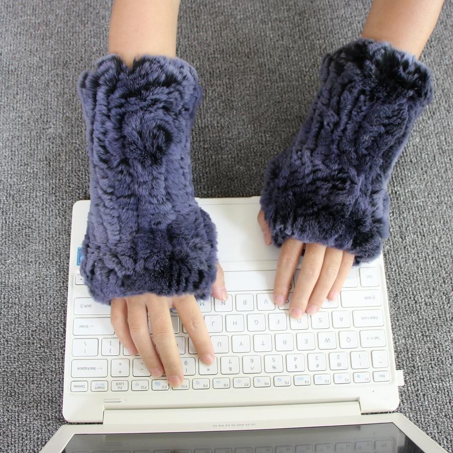 Harppihop*2018 New Women's 100% Real Genuine Knitted Rex Rabbit Fur Winter Fingerless Gloves Mittens Arm Sleeve