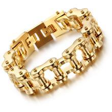 Granny Chic 18/20mm Wide Fashion IP Gold Color Stainless Steel Bike Motorcycle Link Chain Bracelet Charm Bracelet Men Jewelry недорого