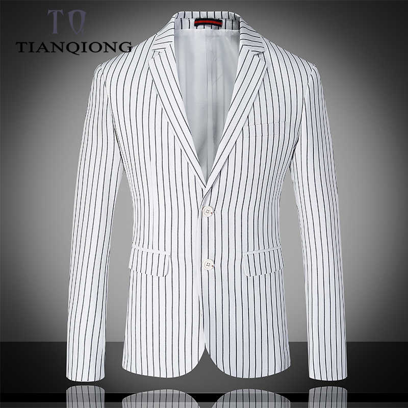 TIAN QIONG White Stripes Wedding Suits 3 Pieces Men Suit Slim Fit Grooms Wedding Business Suits with Pants (jacket+pants+vest)