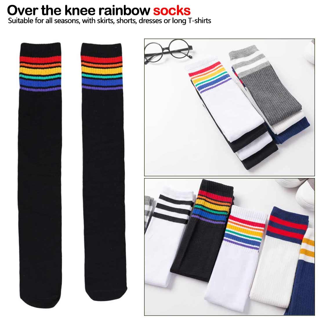 New Arrival 1Pair Thigh High Socks Over Knee Rainbow Stripe Girls Comfortable Socks Black White Sock Soft Elastic