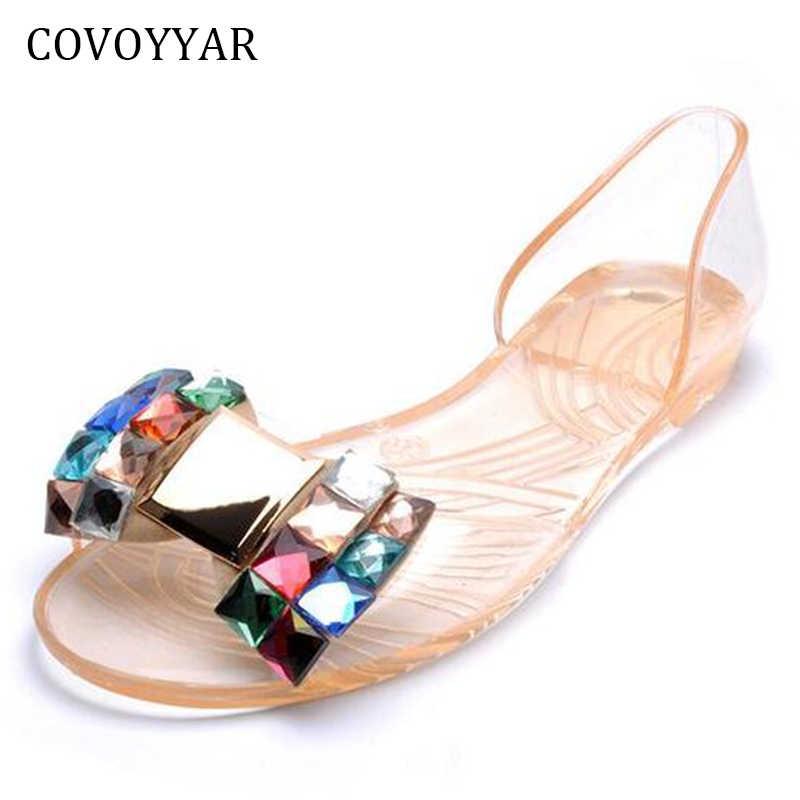 ef2637e50 Jelly Shoes 2019 Fashion Rhinestone Bowtie Flat Sandals Women Summer Shoes  Beach Transparent Sandals Slip On