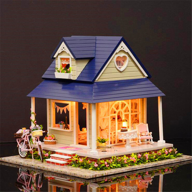 DIY Handmade Wooden Dollhouse Miniature With House Furniture Toy Gift For Children Kids Bicycle Angle Kit Gift Creative