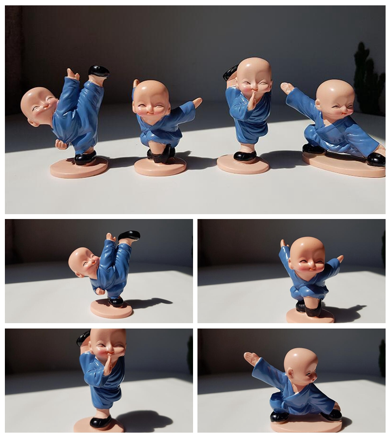 New four small monks Shaolin Kungfu kid Creative resin doll Home decoration gifts
