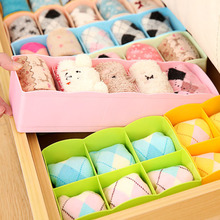 1 Pcs Plastic 5 Grid Household Drawer Finishing Box Desktop Cosmetics Storage Box For Underwear Panties Socks Storage