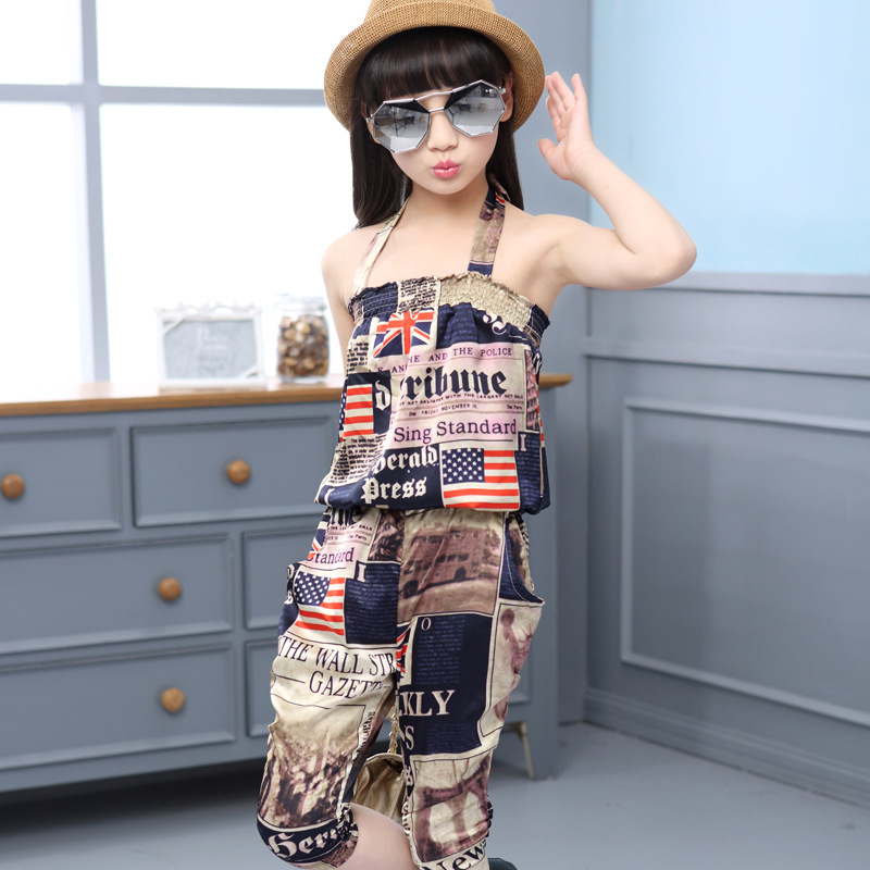Hot Children Summer Clothing Sets Baby Girls Spaghetti -1354