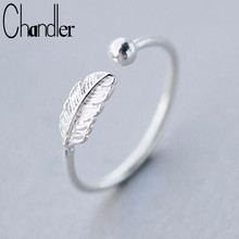 Chandler silver  Feather Bead Rings Opening Full Finger Toe Bague For Women Simple Femme Homme Bijoux Leaf Leaves Fine Jewelry