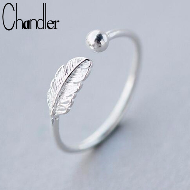 Chandler silver Feather Bead Rings Opening Full Finger Toe Bague For Women Simpl