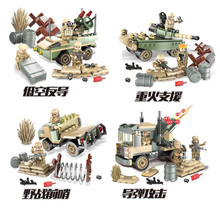 WW2 World War II Helicopter tank Armored vehicles Brick Commando Figure Military Weapon Building Block toys for children