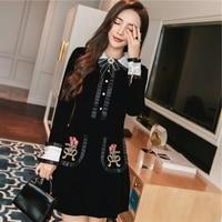 Velvet embroidered dress autumn chic ladies small fragrant retro doll collar waist skinny little black
