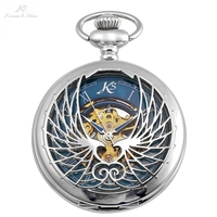 KS Roman Number Silver Hollow Wings Hunter Skeleton Long Kep Clip Chain Mechanical Clock Men Pendant Pocket Watch +Box /KSP122