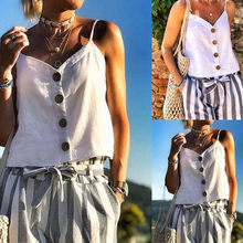 Fashsiualy crop top underwear women Summer Button Sling Sexy Female Crop Tops Fashion Solid Fitness Lady Camis Casual White Tops(China)