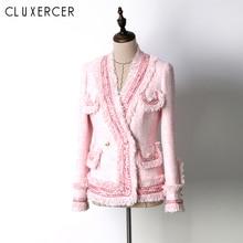 High Quality Autumn Pearls Tassels Jacket Coat 2018 Women Elegant Pink Long Sleeve Tweed Winter Overcoat chamarra mujer