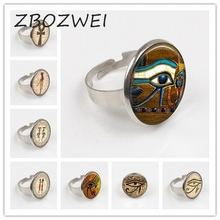 ZBOZWEI 2018 Gothic Egyptian Lord Of The Underworld Anubis Ring Vintage Woman Fashion Jewelry Gift Silver Ring Glass Cabochon