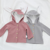 Infant Baby Girls Autumn Jacket Coat Toddler Cotton Clothes Girl Cute Rabbit Ear Hooded Single Breast