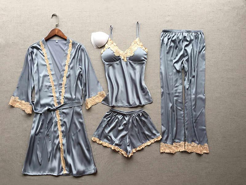 Женский пикантный Шелковый Атласный пижамный комплект, пижама с кружевами, комплект из 4 предметов, пижама с v-образным вырезом, осенняя Весенняя Пижама, комплект модной домашней одежды для женщин