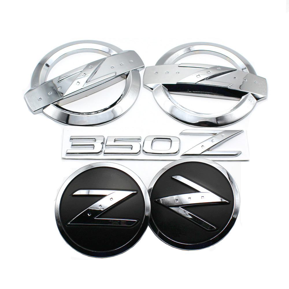 1 set (5x) 3D Argent 350 Z Symbole Car Auto Avant Arrière Côté Corps Emblème Autocollants pour NISSAN 350Z Fairlady Z Z33