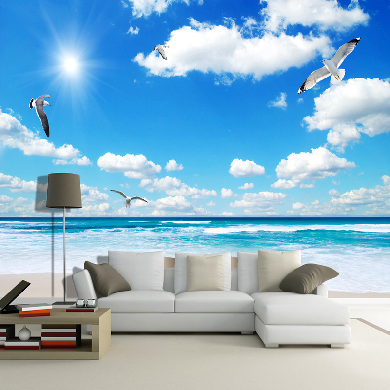 Custom Wall Mural Wallpaper Blue Sky White Clouds Sunshine Beach Maldives Sea View TV Backdrop Photo Wall Paper Wall Painting 3D children room blue sky ceiling wallpaper white clouds wallpaper for kids bedroom blue sky and white clouds wallpaper paper roll