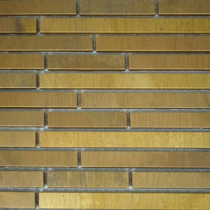 Brick Pattern Brass Silver Color Backsplash Metal Mosaic