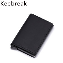 Genuine Leather Credit Card Holder Wallet Men Bank Business id CardHolder Male Anti Rfid Case Wallet Pass Metal Pocket Bag Organ(China)