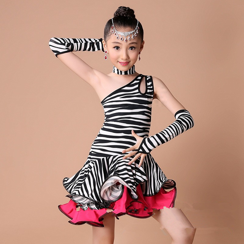 New Fashion Zebra Stripe/leopard Print Children Dress Kids Latin Dress Girl Dance Costumes with Rhinestone Headwear and Earrings child female slim stripe color new modern dance dress latin stage up to 1940