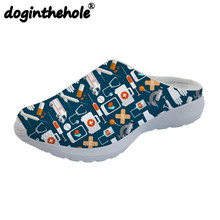 doginthehole Cute Cartoon Nurse Printing Womens Sport Sandal Mesh Beach Shoes Outdoor Sandals for Girls Female Slipper