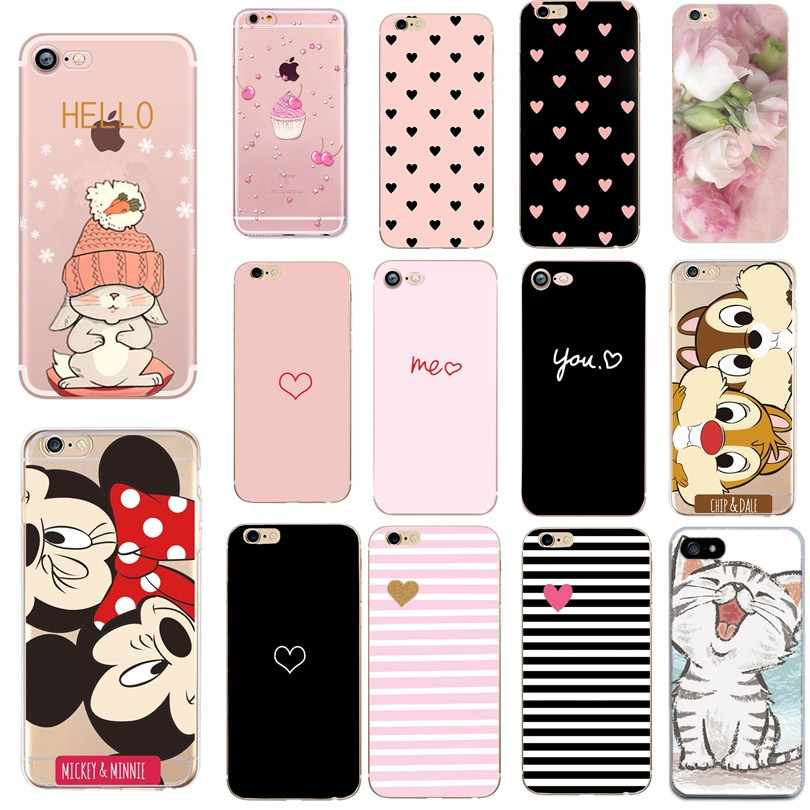Coeur impression étui pour Iphone 6 S 6 S couverture téléphone accessoires Couple Coque Capas pour Iphone 8 Plus Iphone5 5S SE X XS 7 8plus étuis
