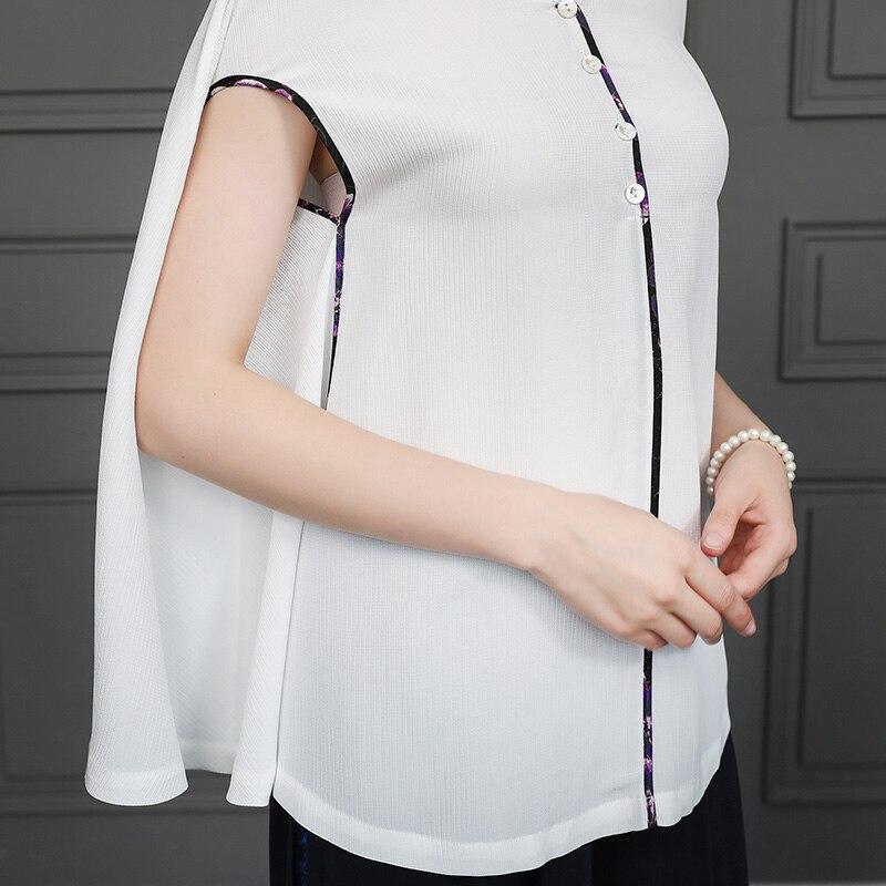 Blanc Soie Courtes De Élégant Shirts Manteau Automne Hauts T Rococo B630 Voa Dames Base Manches Harajuku Femme Modis Vintage Chemise Xqpvd