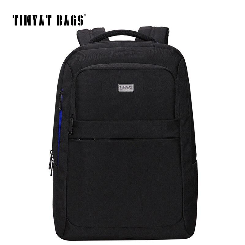 TINYAT School Bags For Men 15 Inch Laptop Men's Bag Black Backpack For Teenage Student Functional Bagpack mochila escolar T805A kingsons ks3019w candy black laptop backpack man daily rucksack travel bag school bags 15 6 inch women bagpack mochila feminina