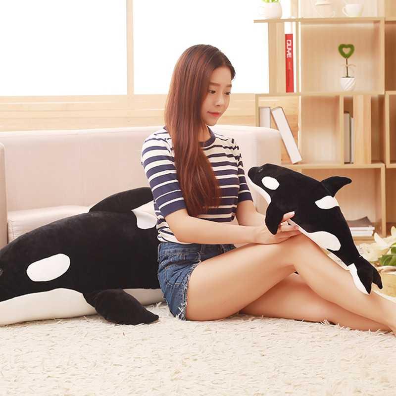 Boneca travesseiro baleia orca Orcinus orca preto e branco boneca de brinquedo de pelúcia de baleia tubarão crianças meninos meninas brinquedos macios