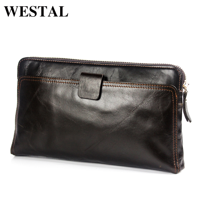 WESTAL Wallet Men Genuine Leather Coin Purse Men Wallet for Credit Cards Wallet Card Holder Clutch Male Zipper Vintage Wallets