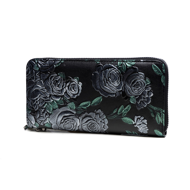 2017 summer New Fashion Genuine Leather Women Wallet Vintage Rose Flower Printed Wallets Ladies' Long Clutches Purse Card Holder