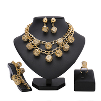 2017 Nigerian Wedding African Beads Jewelry Sets Crystal Fashion Dubai Gold Plated Jewelry Sets For Women