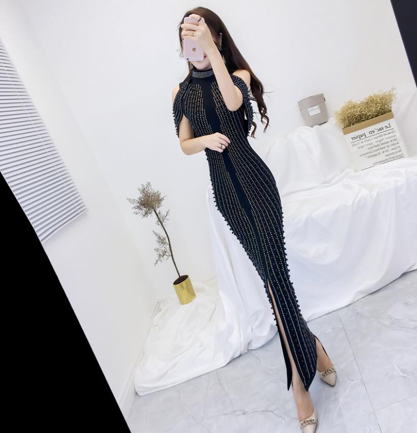 A Alto Nero Maniche Decorazione Rilievo Sexy Colore Back Chic Donna In Senza 2018 Collo Abito Di Abiti Il rdxBCoe