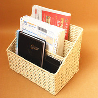 Eco-friendly braid magazine storage basket desktop books organizer file folder sundries storage bins home storage & organization
