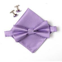 Клетчатый мужской набор галстуков бантиков hanky запонки бабочка карман квадратный носовой платок
